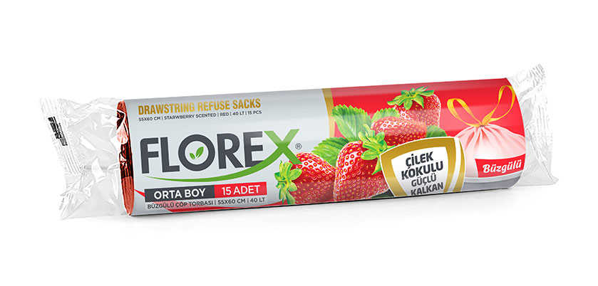 Florex Çilek Kokulu Büzgülü Orta Boy Çöp Torbası