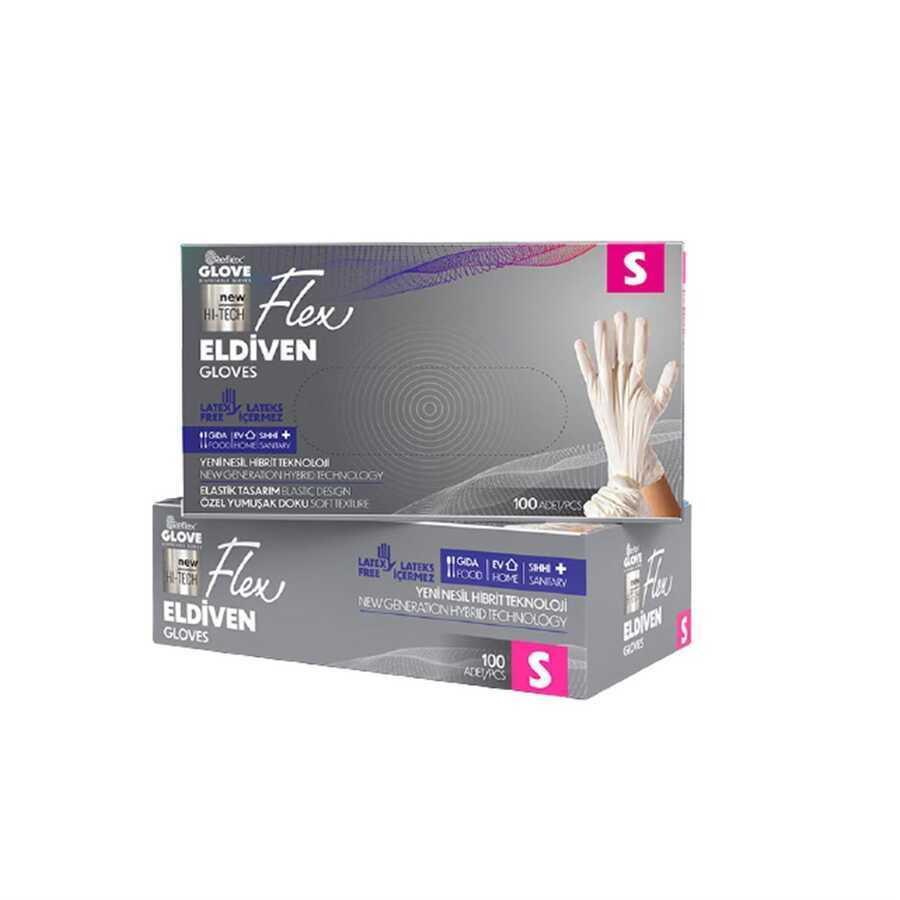 Reflex Pudrasız Tek Kullanımlık Beyaz Flex Eldiven S Beden 100lü