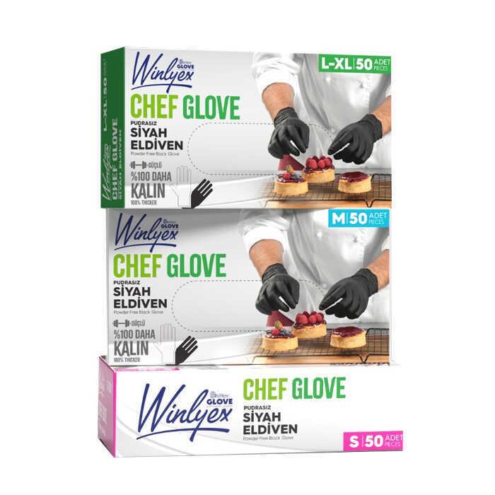 Reflex Winlyex Cheff Glove Pudrasız Siyah Eldiven L-XL Beden 50'li