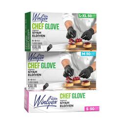 - Reflex Winlyex Cheff Glove Pudrasız Siyah Eldiven L-XL Beden 50'li