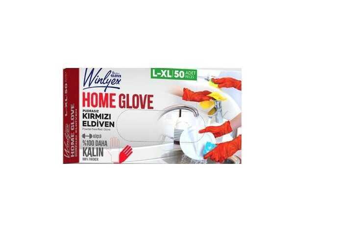 Reflex Winlyex Home Glove Pudrasız Kırmızı Eldiven L-XL Beden 50′li