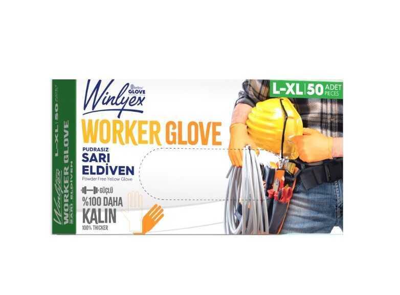 Reflex Winlyex Worker Glove Pudrasız Sarı Eldiven L-Xl Beden 50li