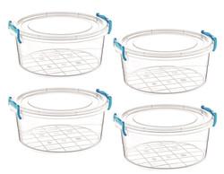 Çankaya Plastik - 4'lü Yuvarlak Saklama Kabı (1,2 Lt)